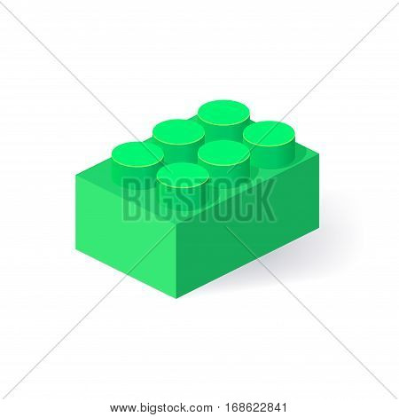 Isometric Plastic Building Block with shadow. Vector colored brick
