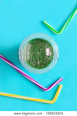Spirulina smoothies in a glass healthy eating or fitness and healthy lifestyle concept view from abovespace for a text