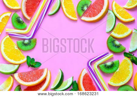 Summer party fruit cocktail drink concept flat lay top view blank space for a text