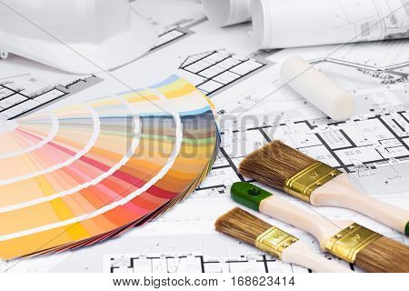 Construction Plans With Whitewashing Tools And Colors Palette