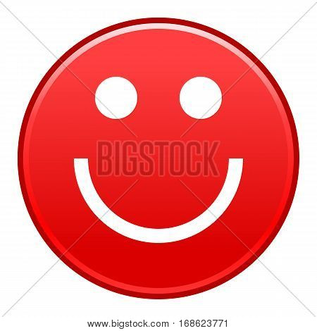 Red smiling face cheerful smiley happy emoticon. Quick and easy recolorable shape isolated from background. Vector illustration a graphic element for web internet design.
