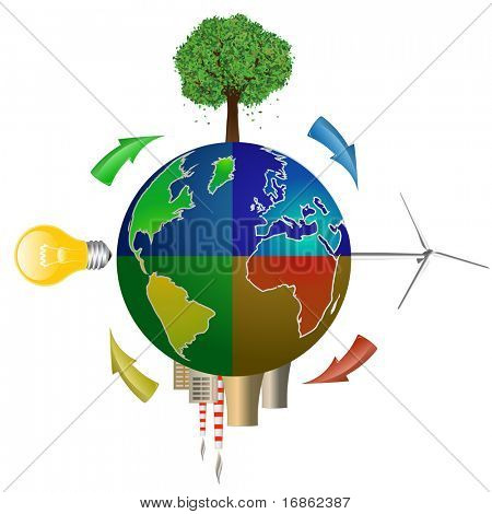 Eco concept. Globe with Tree, Wind Turbine, Light Bulb and Nuclear Power Plant