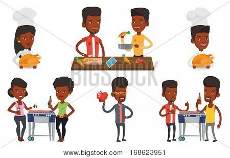African man enjoying fresh healthy apple. Young man holding an apple in hand. Man eating an apple. Concept of healthy nutrition. Set of vector flat design illustrations isolated on white background.