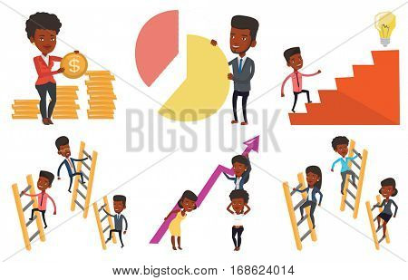 African-american businesswomen holding growth graph. Business team with growth graph. Concept of business growth and teamwork. Set of vector flat design illustrations isolated on white background.