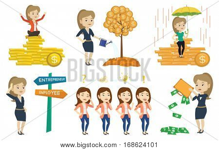 Caucasian business woman agent. Female agent holding umbrella over gold coins. Business concept. Set of vector flat design illustrations isolated on white background.