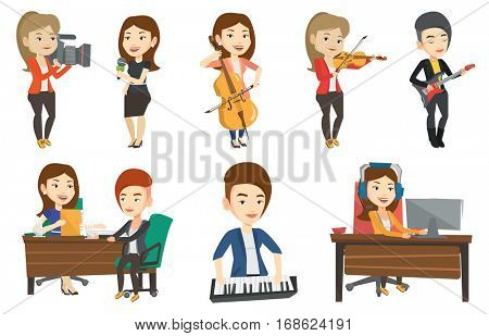 Young happy caucasian musician playing cello. Cellist playing classical music on cello. Young female musician with cello and bow. Set of vector flat design illustrations isolated on white background.