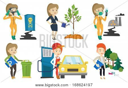 Gas station worker filling up fuel into the car. Smiling worker in workwear at the gas station. Gas station worker refueling a car. Set of vector flat design illustrations isolated on white background