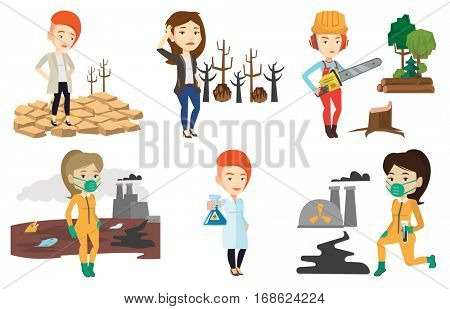 Woman standing in the desert. Sad woman standing on cracked earth in the desert. Concept of climate change and global warming. Set of vector flat design illustrations isolated on white background.