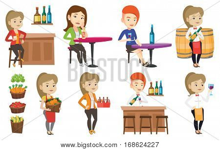 Young caucasian bartender standing at the bar counter. Bartender with bottle and glass in hands. Bartender pouring wine in a glass. Set of vector flat design illustrations isolated on white background