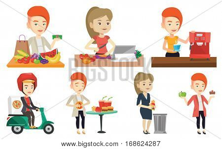 Young caucasian woman delivering pizza on scooter. Courier driving a motorbike and delivering pizza. Concept of food delivery. Set of vector flat design illustrations isolated on white background.