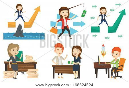 Businesswoman facing with business obstacle. Businesswoman coping with business obstacle successfully. Business obstacle concept. Set of vector flat design illustrations isolated on white background.
