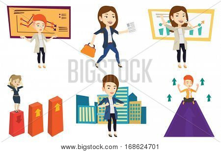 Caucasian bankrupt standing on the background of decreasing chart. Bankrupt business woman with spread arms. Bankruptcy concept. Set of vector flat design illustrations isolated on white background.