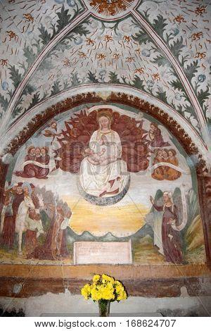The wonderful frescoes abandoned within the church of Zone on Lake Iseo