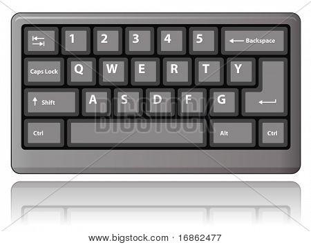 Grey keyboard. Vector illustration.