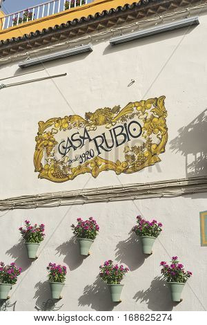CORDOBA, SPAIN - JULY 19, 2016: Cordoba (Andalucia Spain): old typical street in the Juderia with plants and flowers