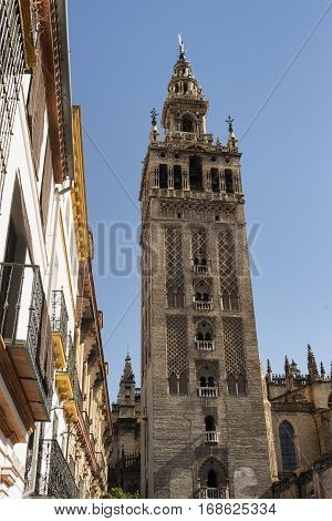 Sevilla (Andalucia Spain): the Giralda belfry of the cathedral