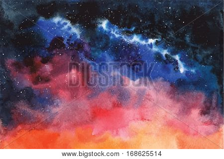 Watercolor vector background Space, stars, constellation, nebula Hand drawn image