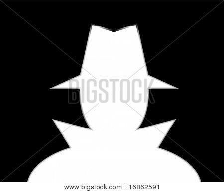 Unknown man in hat. Intruder. Spy. Stranger.