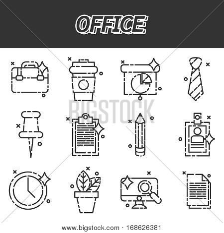 Set of office icons in flat design. Vector illustration, EPS 10