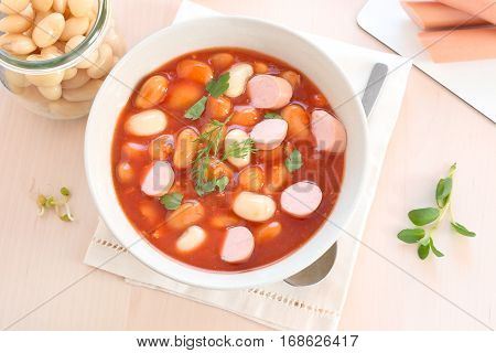 Traditional Polish bean soup with sausage slices.