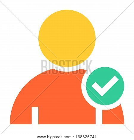 Flat user icon member sign avatar button with check mark pictogram. Quick and easy recolorable shape isolated from background. Vector illustration a graphic element for web internet design