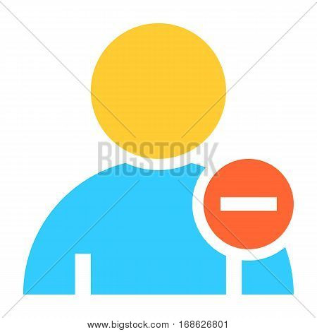Flat user icon member sign avatar button with minus pictogram. Quick and easy recolorable shape isolated from background. Vector illustration a graphic element for web internet design