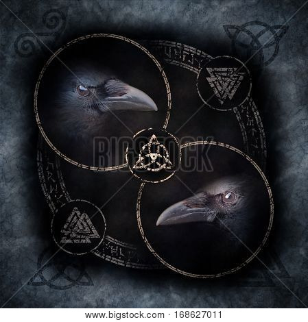 Celtic Crow Circle with two sinister crow heads materialising within a circular emblem of elaborate Celtic, pagan and runic symbols.