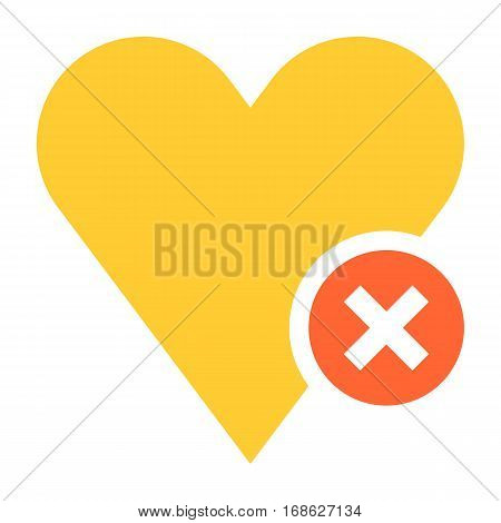 Flat heart icon favorite sign liked button with delete pictogram. Quick and easy recolorable shape isolated from background. Vector illustration a graphic element for web internet design.
