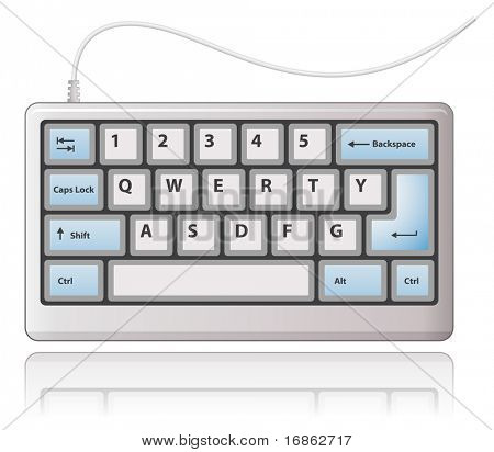 White keyboard. Vector illustration.
