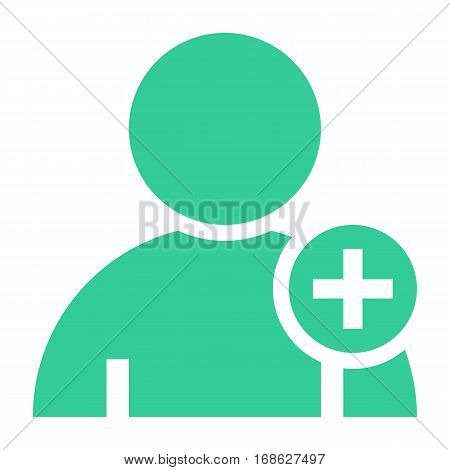 Flat user icon member sign avatar button with plus pictogram. Quick and easy recolorable shape isolated from background. Vector illustration a graphic element for web internet design