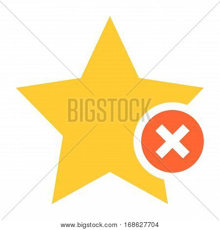 Flat star icon favorite sign bookmark yellow gold button with delete pictogram. Quick and easy recolorable shape isolated from background. Vector illustration a graphic element for web internet design