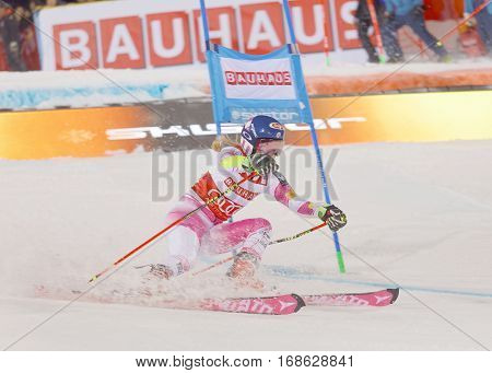 STOCKHOLM SWEDEN - JAN 31 2017: Snow squirting from Mikaela Shiffrin (USA) winner in the downhill skiing parallel slalom makes a turn at the Alpine Audi FIS Ski World Cup - city event January 31 2017 Stockholm Sweden