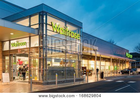 STIRLING SCOTLAND - FEBRUARY 03 2017: Exterior of the Waitrose store at dusk in Stirling Scotland.