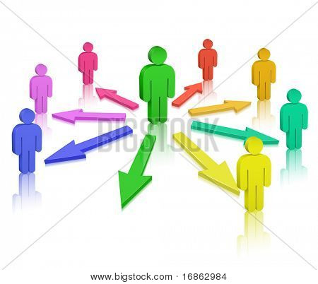 People and colored arrows. Social Media. Communication Concept.