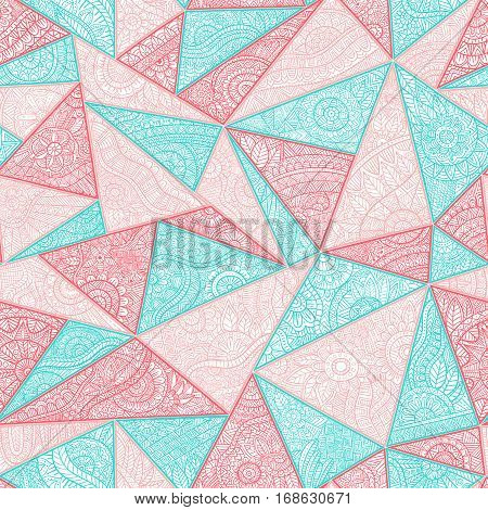 Seamless summer pattern patchwork. Zentangl with elements of flowers leaves geometric abstractions. Print for your textile. Blue pink red and white colors. Vector illustration.