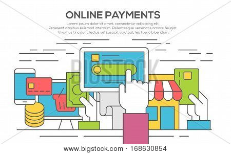 Concept illustration of making online payment via internet services. E-commerce concept for web banners. Shopping online and payment online. Thin line, flat design