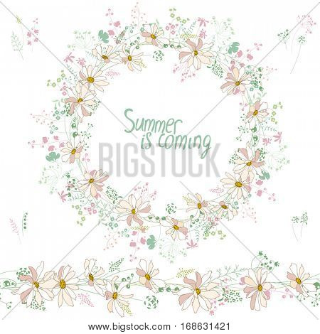 Round wreath made of flowers: white daisies, plants and herbs isolated on white background. Summer is coming phrase, endless horizontal border.
