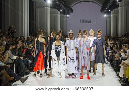 KYIV, UKRAINE - OCTOBER 14, 2016: Models walk the runway at Christina Bobkova collection show during the 39th Ukrainian Fashion Week at Mystetsky Arsenal in Kyiv