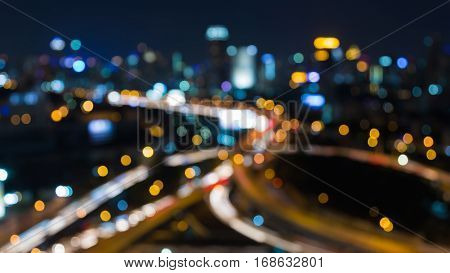 Aerial view blurred bokeh light city and interchanged abstract background