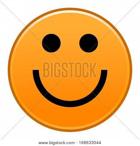 Orange smiling face cheerful smiley happy emoticon. Quick and easy recolorable shape isolated from background. Vector illustration a graphic element for web internet design