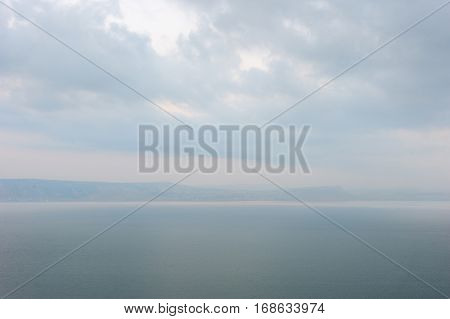 Lake Kinneret at dawn view from the Golan Heights