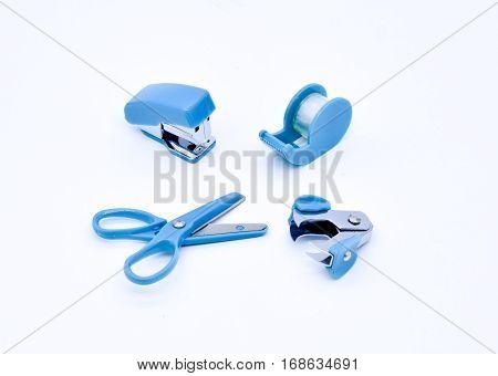 office stationary stapler clip on white background