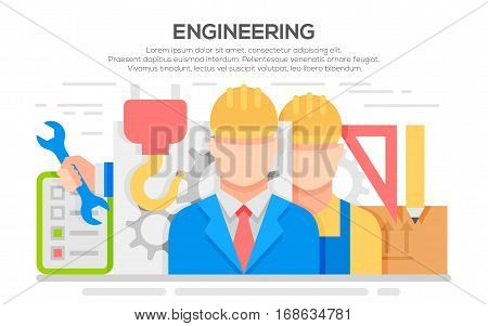 Engineer construction equipment industrial technician workers with fixing tools and gears icons set isolated vector illustration