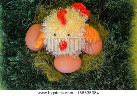 Easter scene with chick in the spring meadow.