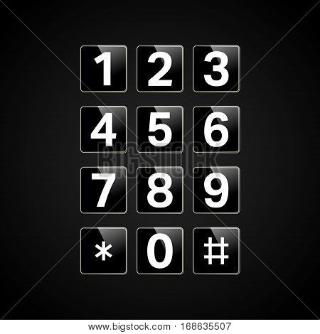 Digital keypad with numbers for phone user interface security lock control panel. Telephone button. Vector illustration.