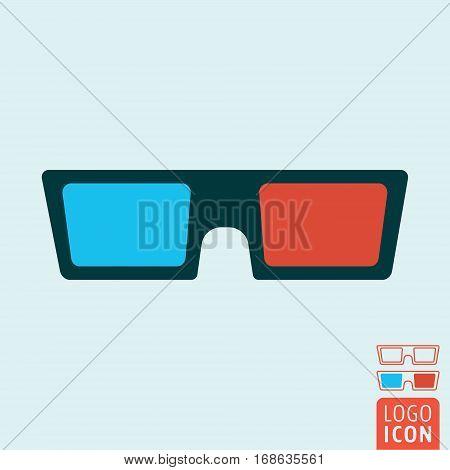 3d glasses icon. Cinema 3d spectacles symbol. Vector illustration