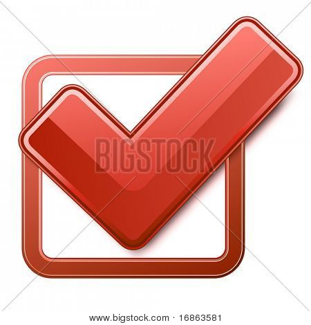 Red check box with check mark