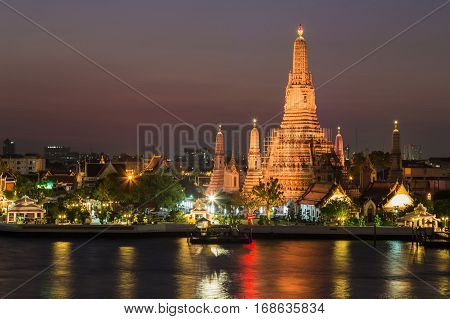 Night at Wat arun ratchawararam on Chao phraya river front Bangkok Thailand Landmark