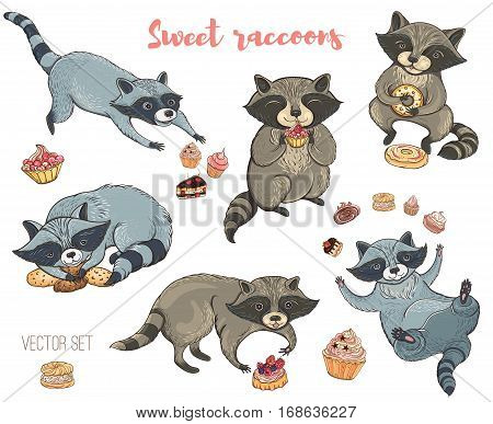 Vector illustration: set of cute characters raccoons with cakes and cookies. Isolated elements for design.