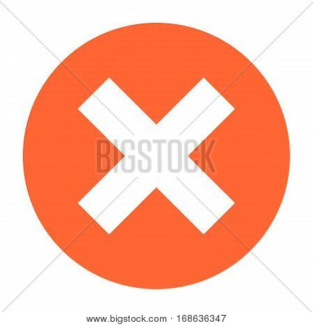 Flat delete icon circle remove sign exclusion button. Quick and easy recolorable shape isolated from background. Vector illustration a graphic element for web internet design.